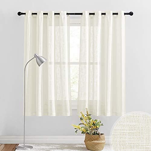 RYB HOME Linen Sheer Curtains - Linen Textured Curtains & Drapes Grommet Bedroom Curtains Privacy Window Treatment for Living Room Kitchen Bathroom, 52 x 63 inches Long, Natural, 2 Pcs