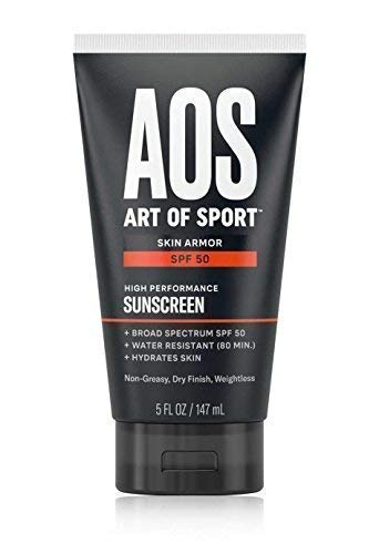 Art of Sport Skin Armor Sunscreen Lotion, Waterproof, SPF 50 Broad Spectrum UVA/UVB Protection, Non-Stinging Formula, Oil-Free and Dry Finish, Approved to use in Hawaii, 5oz