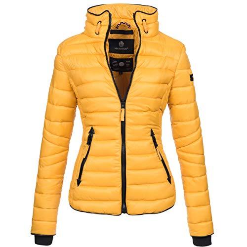 Marikoo Damen Jacke Steppjacke Übergangsjacke gesteppt mit Kordeln Frühjahr Camouflage B405 [B405-Lola-Gelb-Gr.XS]