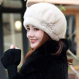 Women's Winter New Warmth Full Suede Earmuffs Mink Fur Grass Hat Soft Beret Gray