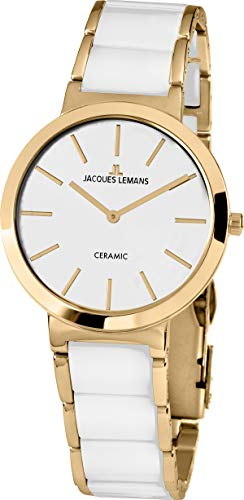 JACQUES LEMANS Damenuhr Milano Metallband/High-Tech-Ceramic massiv Edelstahl ip-Gold 1-1999D
