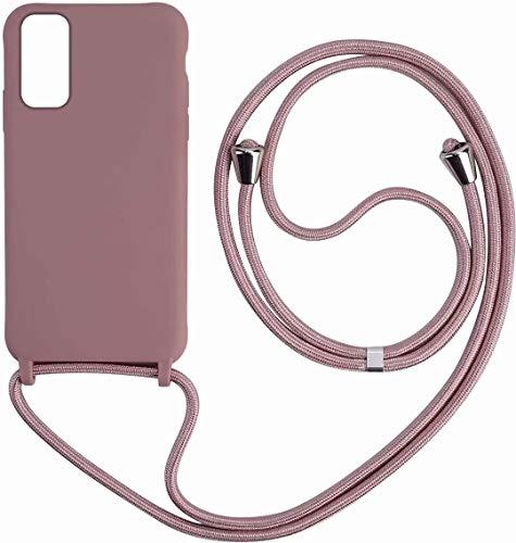 Kompatibel mit Samsung Galaxy A21S Silikon TPU Handy-Kette Handyhülle mit Band Handy Hülle mit Kordel zum Umhängen.
