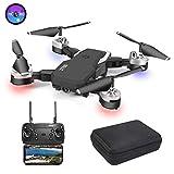 3T6B Drone Plegable, Cámara 1080P HD 5 megapíxeles, Avión WiFi FPV por Control Remoto, Cuadricóptero con 3 Modos de Velocidad, Modo sin Cabeza, Foto Gestual, Regreso con un Solo Botón