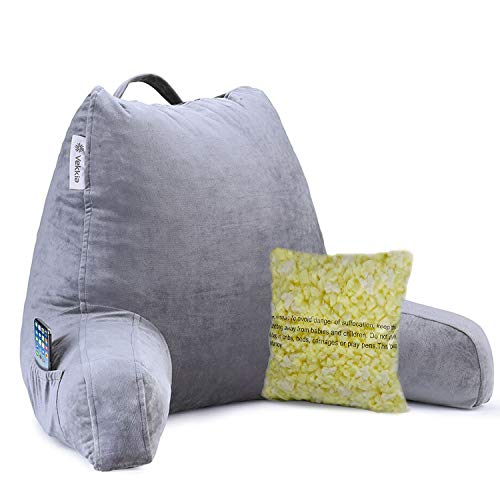 Vekkia Reading & Bed Rest Pillow with Support Arms, Pockets, Memory Foam....