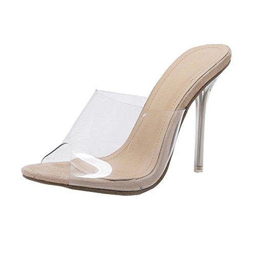 Vectry High Heels Sandalen Plateau Sandaletten Damen Riemchen Schuhe Offene Stiefel Sommer Schuhe SchnüRen Stiefel Bequeme Absatzschoner, Kristall Transparente PVC Hausschuhe (EU39/CN40, Khaki)