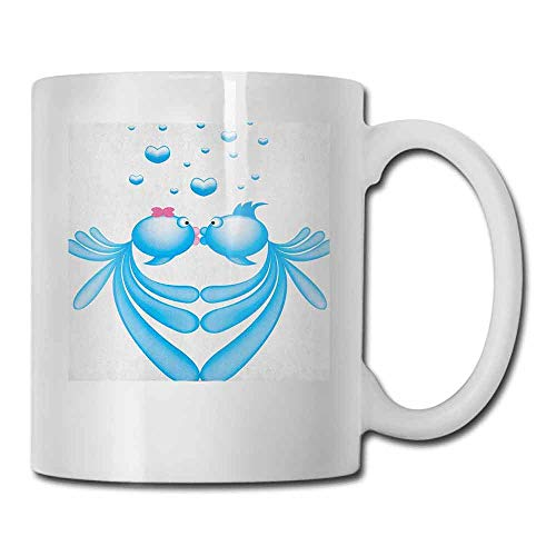 Kiss Coffee Mug Abstract Blue Cartoon Fishes Kissing with Bubble Like Heart Shapes Romantic Funny Gift Pale Blue Pink White 11oz