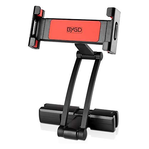 BYGD - Supporto per poggiatesta auto, supporto per tablet con rotazione di 360 gradi, per iPad Pro Air Mini, Kindle, Samsung Tablet, Switch e qualsiasi tablet o telefono 5 -13  (nero)