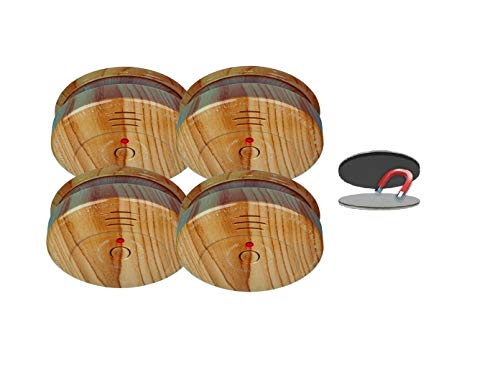 4er SET Rauchmelder in Holzoptik mit 5 Jahres Batterie & EASY Magnetbefestigung