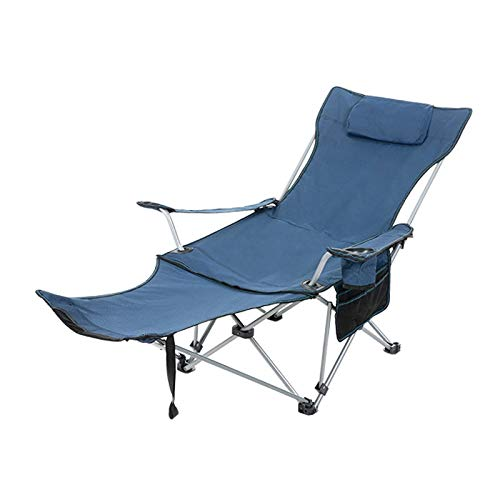 Outdoor Gray Blue and Green Folding Chair Lengthened and Reinforced, Suitable for Fishing, Camping, Beach, Easy to Carry D-20-10-26 (Color : Blue)