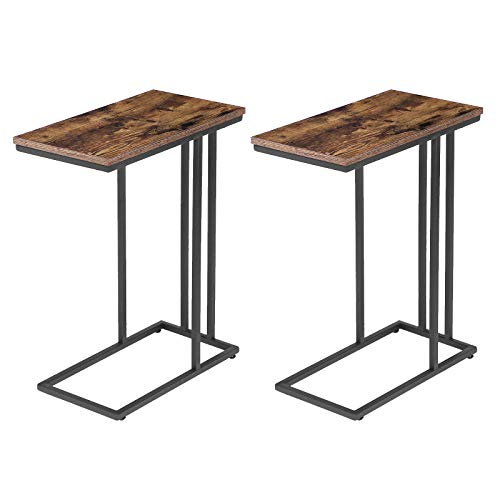 HOOBRO Side Table C-Shape, Set of 2, Portable Laptop Holder Snack Table, Heavy-Duty Sofa Side Table, Wood Look Accent TV Tray, Space Saving in Living Room, Bedroom, Rustic Brown BF02SFP201