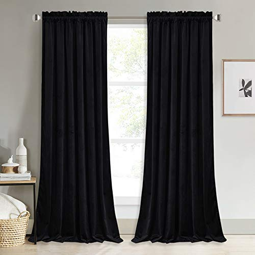 NICETOWN Black Velvet Blackout Curtains, Solid Heavy Matt Rod Pocket Drapes/Window Treatments for Hall, Theater (2 Pieces, 96 inches Long)