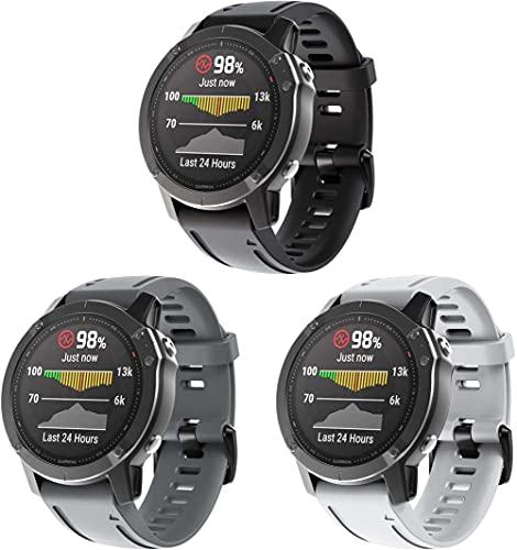 Classicase Correa de Reloj Compatible con Garmin Fenix 6S Pro/Fenix 6S / Fenix 5S/5S Plus (42MM), Silicona Banda de Reemplazo Pulsera (3-Pack G)