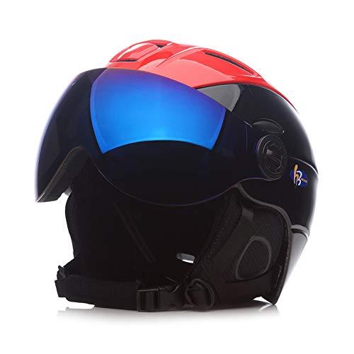 SKI Homme/Femme/Enfant Casque De, Lunettes Masque Snowboard Casque Moto Vélo Vélo Planche À roulettes De Motoneige Sport Sécurité,C,M