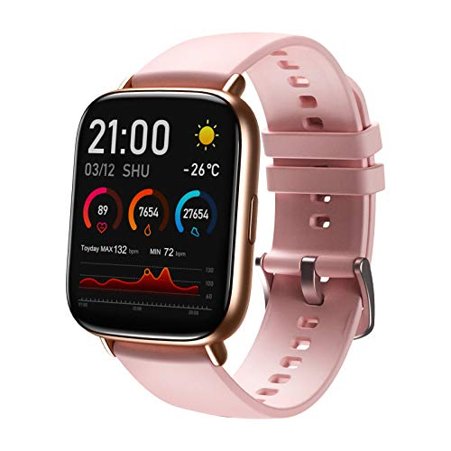 SANAG Smartwatch Fitness Armband Fitness Tracker Smart Watch Wasserdicht Fitness Uhr mit Herzfrequenz Schlafüberwachung Kalorien Schrittzähler Damen Herren Armbanduhr Sportuhr für iOS Android, Rosa