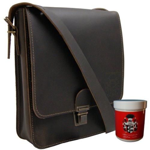 Freiherr von Maltzahn Schultertasche für Tablets, iPad-Tasche ARISTOTELES aus braunem Leder, Made in Germany, inkl. Lederpflege