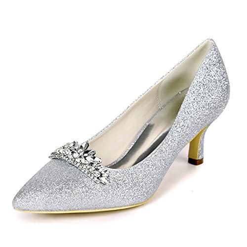 Mujer Zapatos De Boda Tacón Gatito Dedo Puntiagudo Salón Brillante Un Color...