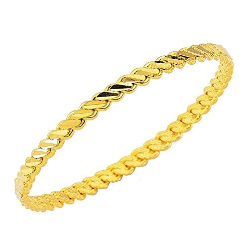Bijou Karat Bijou Karat 1 x Burma Bilezik üclü Gold Armreifen Armreif 24 Karat Vergoldet Altin 0,5 cm 6,4 cm