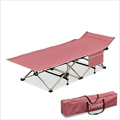Purenity Stable Camping Cot Portable Folding Beach Bed with Decent Storage Bag (Wine)