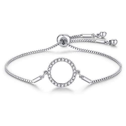 LYTOPTOP Silver Bracelet for Women-White Gold Plated Tiny Cubic Zirconia Paved Circle Adjustable Bracelets Jewellery Birthday Friendship Valentines Gifts for Lover Mom Girls