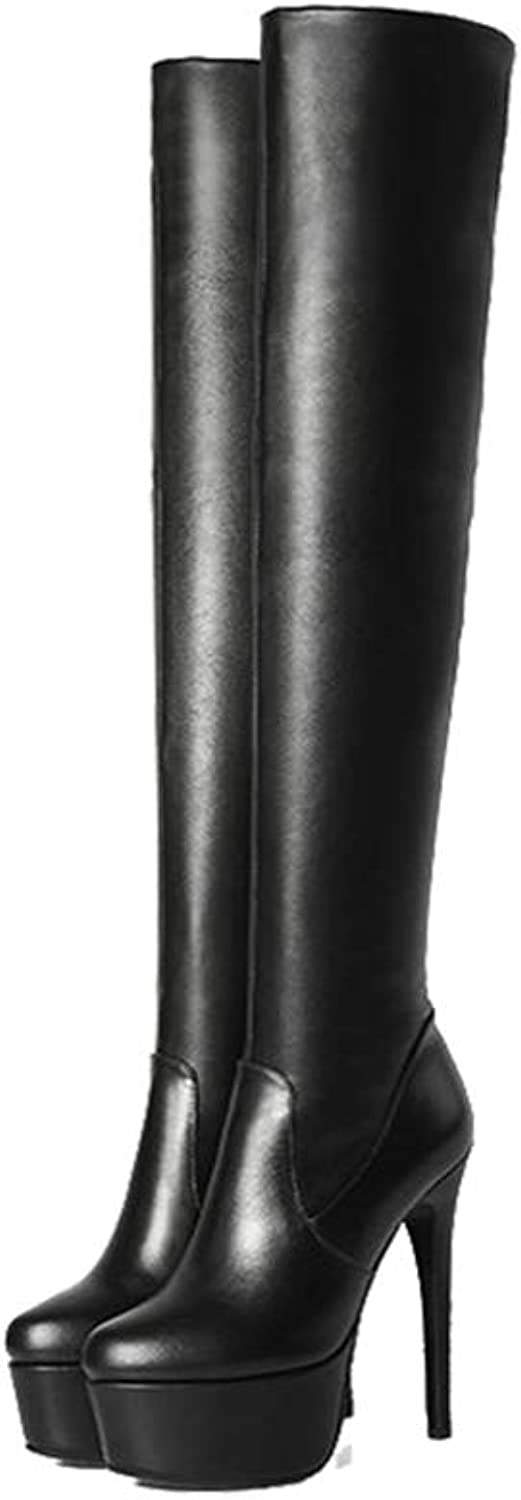 T-JULY Fashion Women Winter Over The Knee Boots Sexy Platform Pointed Toe Slim Heel Stiletto shoes