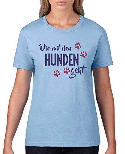 Comedy Shirts - Die mit den Hunden geht - Damen T-Shirt - Hellblau/Lila-Fuchsia Gr. L