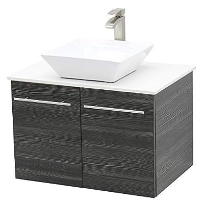 """WindBay Wall Mount Floating Bathroom Vanity Sink Set. Dark Grey Vanity, White Flat Stone Countertop Ceramic Sink - 36"""""""