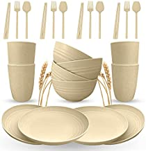 Bonne Forme Wheat Straw Dinnerware Set - 24Pcs Lightweight and Unbreakable RV Dinnerware set - Microwave And Dishwasher Safe Plastic Plates, Bowls and Cups Dishes set - Serves 4 - Beige