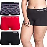 Reebok Women Plus Size Seamless Boyshort Panties Underwear (3 Pack) (Black/Pink Dye Stripe/Crimson/Black, 1X)