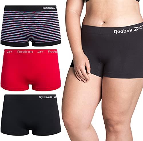 Reebok Women's Underwear – Plus Size Seamless Boyshort Panties (3 Pack), Size 2X, Black/Pink Dye Stripe/Crimson/Black