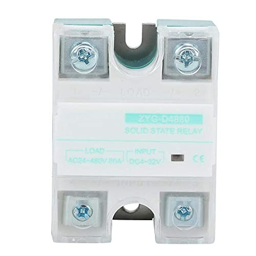 Guadang SSR Solid State Relay, DC Control AC Single-Phase 80A 4-32V Input Voltage Relay Box,with LED Tube Indication for Industrial Automation Process