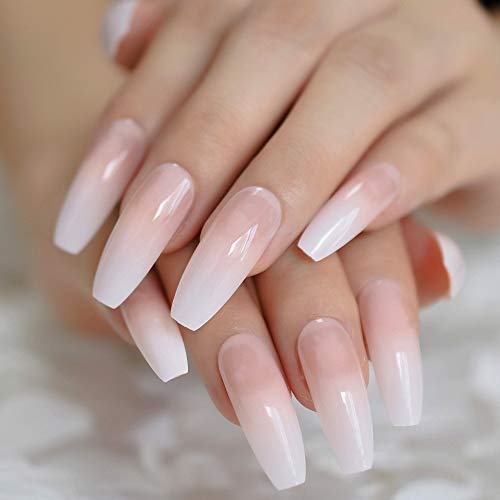 CoolNail Ombre Gradient Pink Nude White French Ballerina Press on False Nails Extra Long Natural Coffin UV Gel Glue On Fake Fingers nails