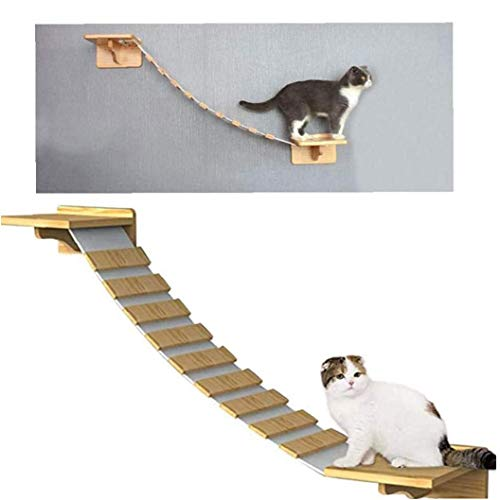 Ohomr Cat Ladder Bridge Wall-Mounted Cat Ladder Cat Lounge Hammock with 2 Fixed Bracket Cat Cloud Shelf Board