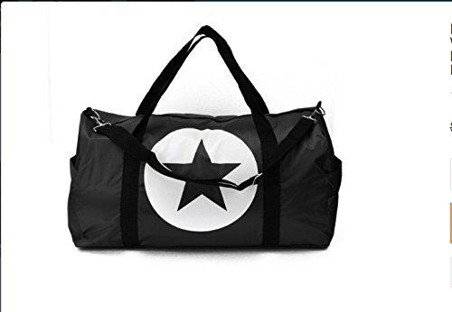 Moaeuro grande stella unisex da viaggio in nylon impermeabile uomo donna borsa sport palestra borsone leggero, Black