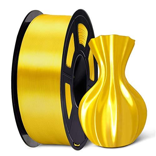 SUNLU 3D Filament 1.75, Shiny Silk PLA + Filament 1.75mm, 1KG PLA+ Filament 0.02mm for 3D Printer 3D Pens, Yellow