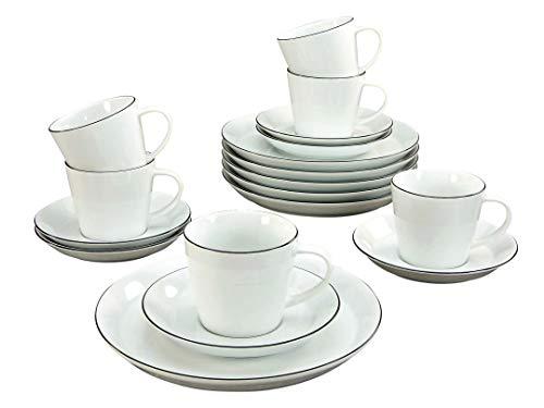 Creatable, 20582, Serie Trendy BLACK LINE, Geschirrset Kaffeeservice 18 teilig, Porzellan, Mehrfarbig