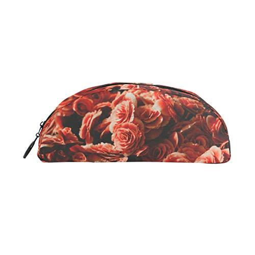 Twill Semicircular Pencil Case Pencil Case Maquillage Sac Cosmétique pour Femmes Hommes Floral Fleurs