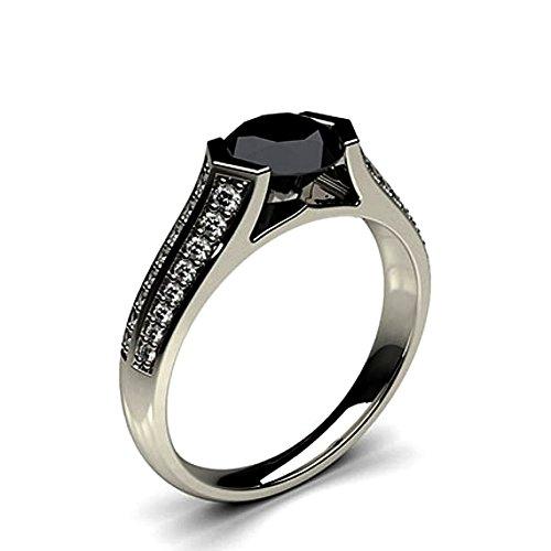 JewelsForum 0.90 Quilates Diamante Negro Anillo De Compromiso Clásico Solitario Diamante De Oro Blanco De 14K Para Mujer