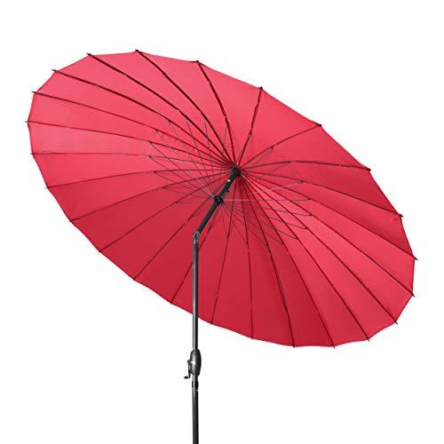 Derby Shanghai II 270 – Hochwertiger Alu Sonnenschirm ideal für den Garten – Witterungsbeständig – ca. 270 cm – Rot