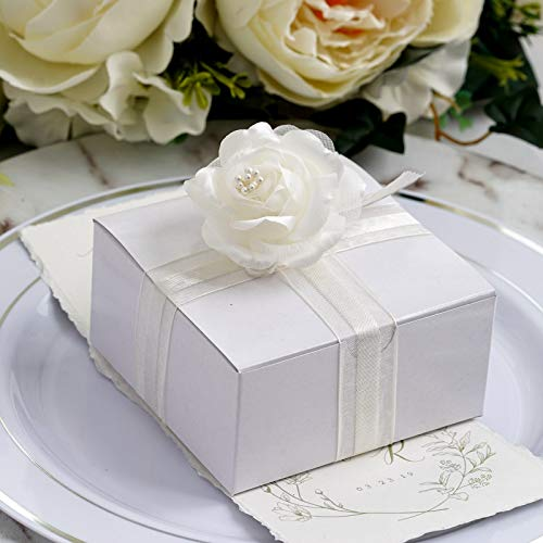 Efavormart 100pcs of 4x4x2 White Cake Box for Candy Treat Gift Wrap Box Party Favor Boxes for Bridal Shower Wedding Party