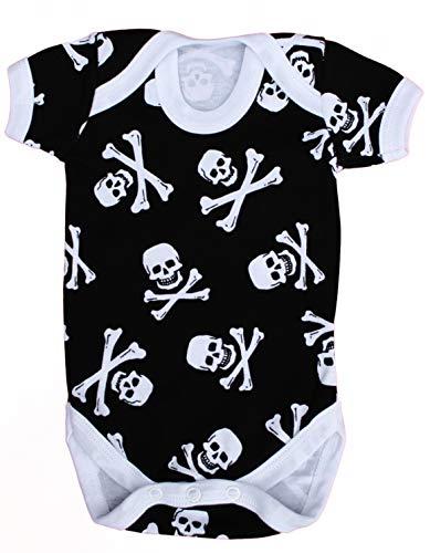 Baby Moo'S UK - Chaleco de bebé para niños o niñas, diseño de calavera y huesos cruzados/body pirata, ideal para baby shower, alternativa, gótica o regalo para recién nacidos (6-12 meses)