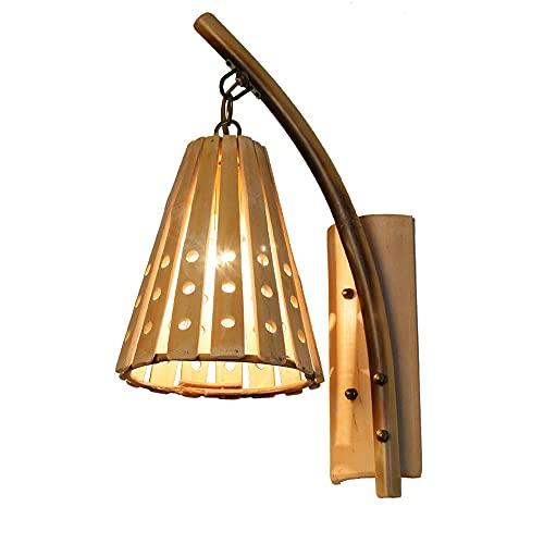 AZPINGPAN Lámpara de pared de bambú ahuecada simple, restaurante de arte de hierro de tejido creativo, bar, apliques de pared con iluminación ambiental de cafetería, portalámparas E27 (sin fuente de l