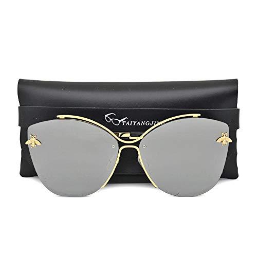 Gafas de Sol Sunglasses Gafas De Sol Mujer Ojo De Gato Diseño Espejo Clásico Abeja Vintage Cateye Moda Gafas De Sol Dama Gafas con Estuche Gafas De Sol con Funda