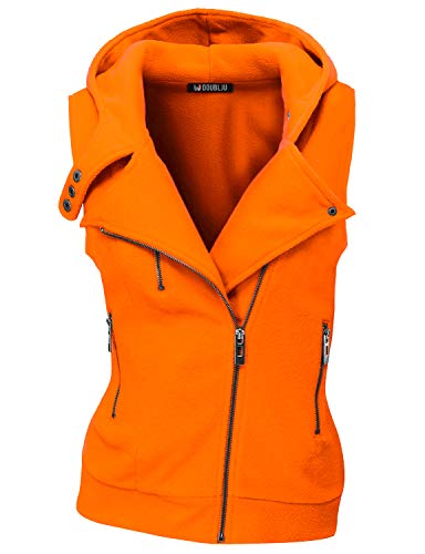 Doublju Womens Hooded Zip-Up Vest with Zipper Detail and Plus Size Orange X-Large