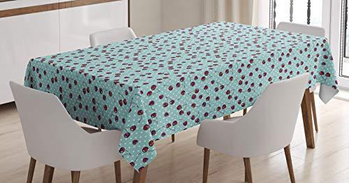 ABAKUHAUS Cerise Nappe, Fruit Dots Nostalgiques, Linge de Table Rectangulaire pour Salle à Manger Décor de Cuisine, 140 cm x 170 cm, Vermilion Écume Blanc