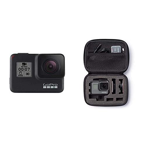 GoPro HERO7 Schwarz - wasserdichte Digitale Actionkamera mit Touchscreen, 4K-HD-Videos, 12-MP-Fotos, Livestreaming & Amazon Basics Tragetasche für GoPro Actionkameras, Gr. XS