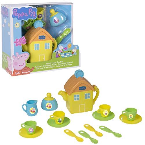 Juego de té Peppa Pig House | Incluye Tetera, Jarra, tazón, platillos y más | Divertido Juego de té para niños pequeños y niñas a Partir de 3 años