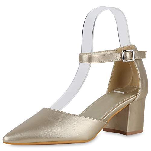 SCARPE VITA Damen Spitze Pumps Klassische Riemchenpumps Mid Heels Blcokabsatz Schuhe Leder-Optik Absatzschuhe Schicke Abendschuhe 195480 Gold Total 39