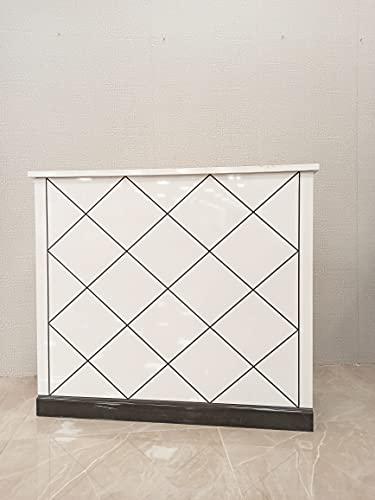 Mesa de Oficina Mostradores para Tiendas o Recepción Mueble Blanco con Brillo con Rayas Plateadas Cruzadas