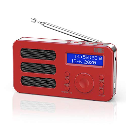 Photo of Portable DAB Radio – August MB225 – DAB/DAB +/FM – RDS Function, 40 Presets, Stereo/Mono Portable Digital Radio, Dual Alarm, Rechargeable Battery, Headphone Jack (Red)