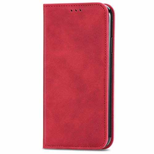 ケース 対応機種「 Redmi Note 10 Pro 」 [KAIDON] [モデル番号: C1-018#] 良質PUレザー マグネット開閉 カード収納 手帳型 ケース カバー (赤)